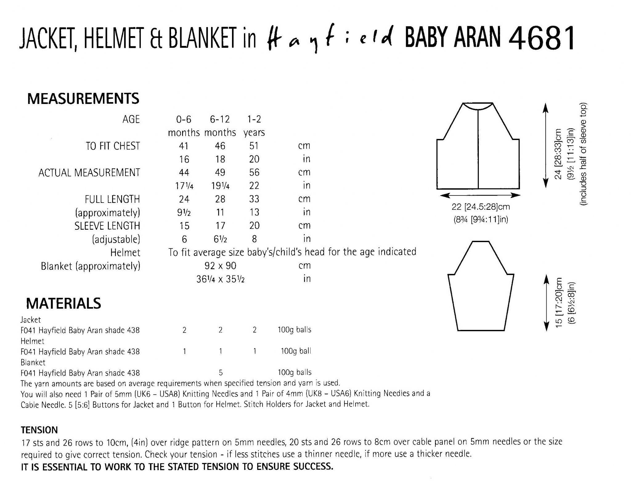 Hayfield baby aran jacket helmet blanket knitting pattern to fit 4681 hayfield baby aran jacket helmet blanket knitting pattern to fit birth to 2 years bankloansurffo Choice Image